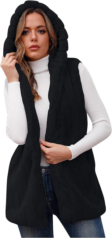 Women's Winter Fashion Hooded Warm Jacket Casual Faux Fur Fur Waistcoat Waistcoat Top Jacket For Women
