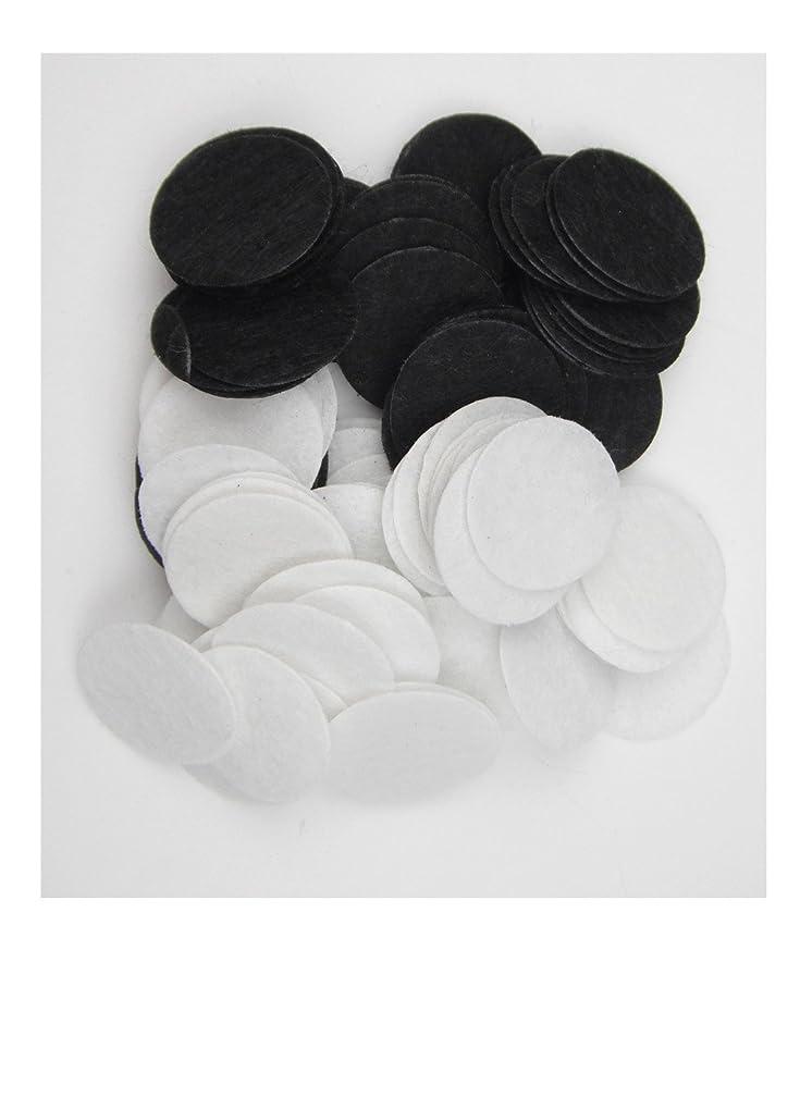 ALL in ONE 100pcs Round Felt Padded Center Trim Flower Backs Sew on Glue On (25mm, Black+White)