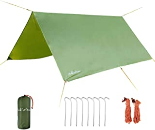 3 x 3 Meters Portable Waterproof Outdoor Camping Shelter, Sunshade Rain Tarp Tent Hammock Rain Fly Easy Set Up