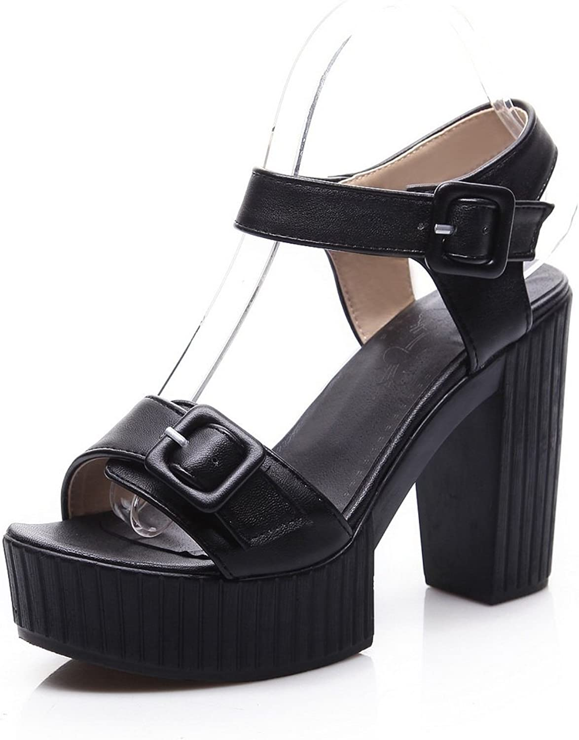 AllhqFashion Women's Soft Material Buckle Open Toe High Heels Solid Sandals