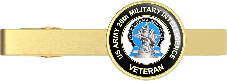 HOF Trading Gold U.S. Army 20th Military Intelligence Unit Crest Veteran Gold Tie Clip Tie Bar Veteran Gift