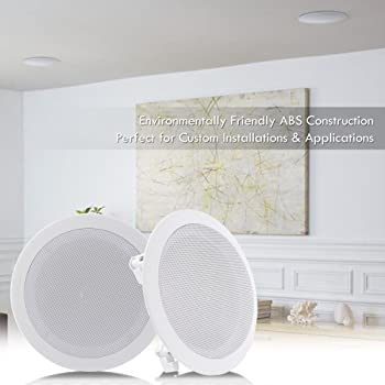 """Pyle Pair 6.5"""" Flush Mount In-wall In-ceiling 2-Way Home Speaker System Spring Loaded Quick Connections Dual Polyprop..."""