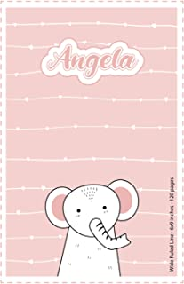 Angela: Personalized Name Squared Paper Notebook Light Pink Elephant | 6x9 inches | 120 pages: Notebook for drawing, writi...