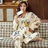 JJHR Schlafanzug Damenpyjamas Set Print Turn-Down-Kragen Nachtwäsche Nightwear 2PCS Home Suit...