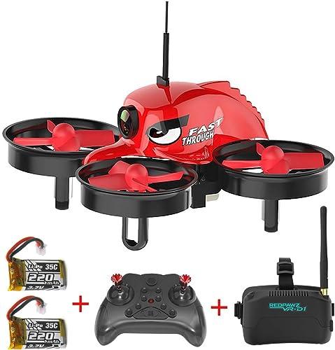 Micro Racing Drone, rougePAWZ R011 5.8G FPV Drone Quadricoptère avec Caméra 120° Grand angle 3 pouces VR des lunettes de prougeection Retour d'une clé RTF Drone pour traverser+ 2pcs Batterie