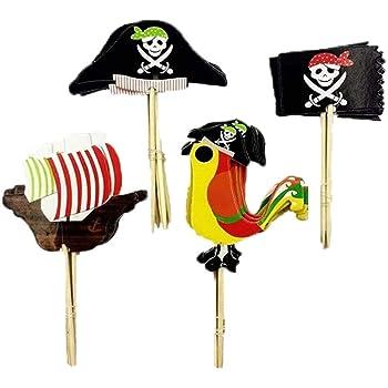 Cocktail de Pirate Drapeaux de Cure-Dents G/âteaux Toppers pour Enfants Anniversaire G/âteau D/écoration Fournitures Ouinne 96 Pi/èces Cupcake Toppers