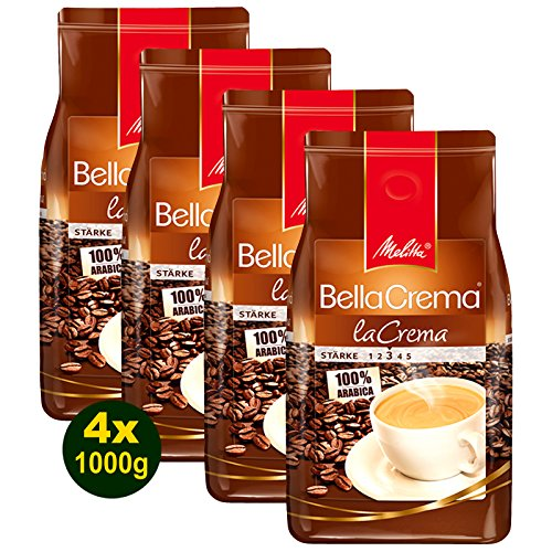 Melitta BellaCrema LaCrema, Kaffeebohnen 4x 1000g (4000g) - 100% Arabica