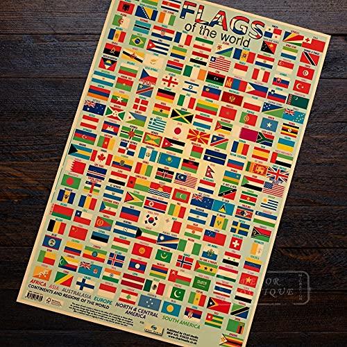 PMSMT Diversión para niños con Banderas, Banderas del Mapa del Mundo de la nación Cartel de Arte Decorativo DIY Pegatinas de Pared Carteles para el hogar decoración de Arte de Barra