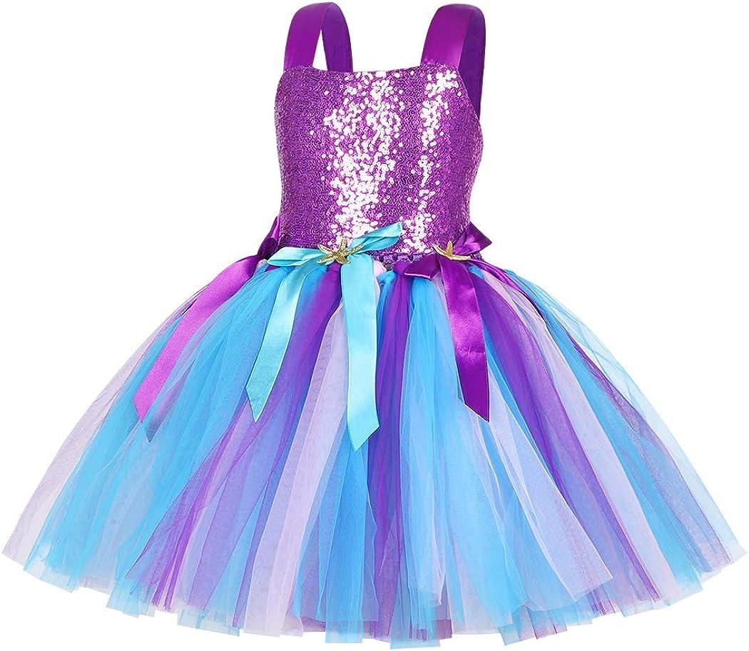 WonderBabe Bambina Ragazza Vestito Carnevale Bambina Costume Unicorno//Sirena Compleanno Carnevale Dress Up Festa a Tema Tulle Layering Tutu Skirt Childs Dresses Outfit