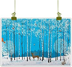 QIAOQIAOLO Modern Oil Painting Christmas Hanging in The Bedroom Snow Covered Forest with Flock of Bullfinches Squirrels Bunnies Deer Noel Theme W35 x L31 Multicolor