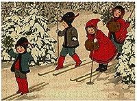 ヴィンテージの冬のシーンのパズルをスキーする新しい子供たち500ピース木製大人のジグソーパズルの色子供のための抽象的な絵画パズル教育玩具ギフト