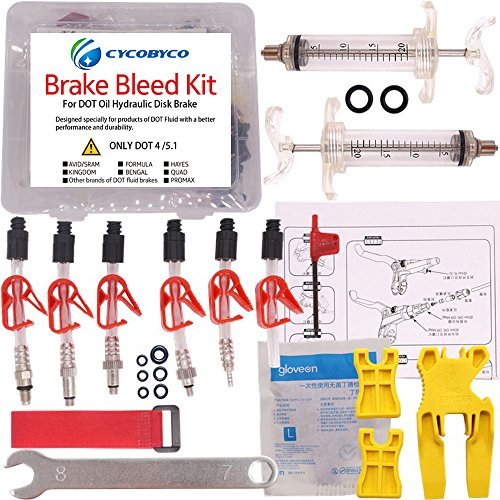 CYCOBYCO DOT Oil Disc Brake Bleed Kit Bike Bicycle Tool for AVID Sram Dode Juicy Hope BNGAL Hayes J3 J5 J7 Formula (Set A)