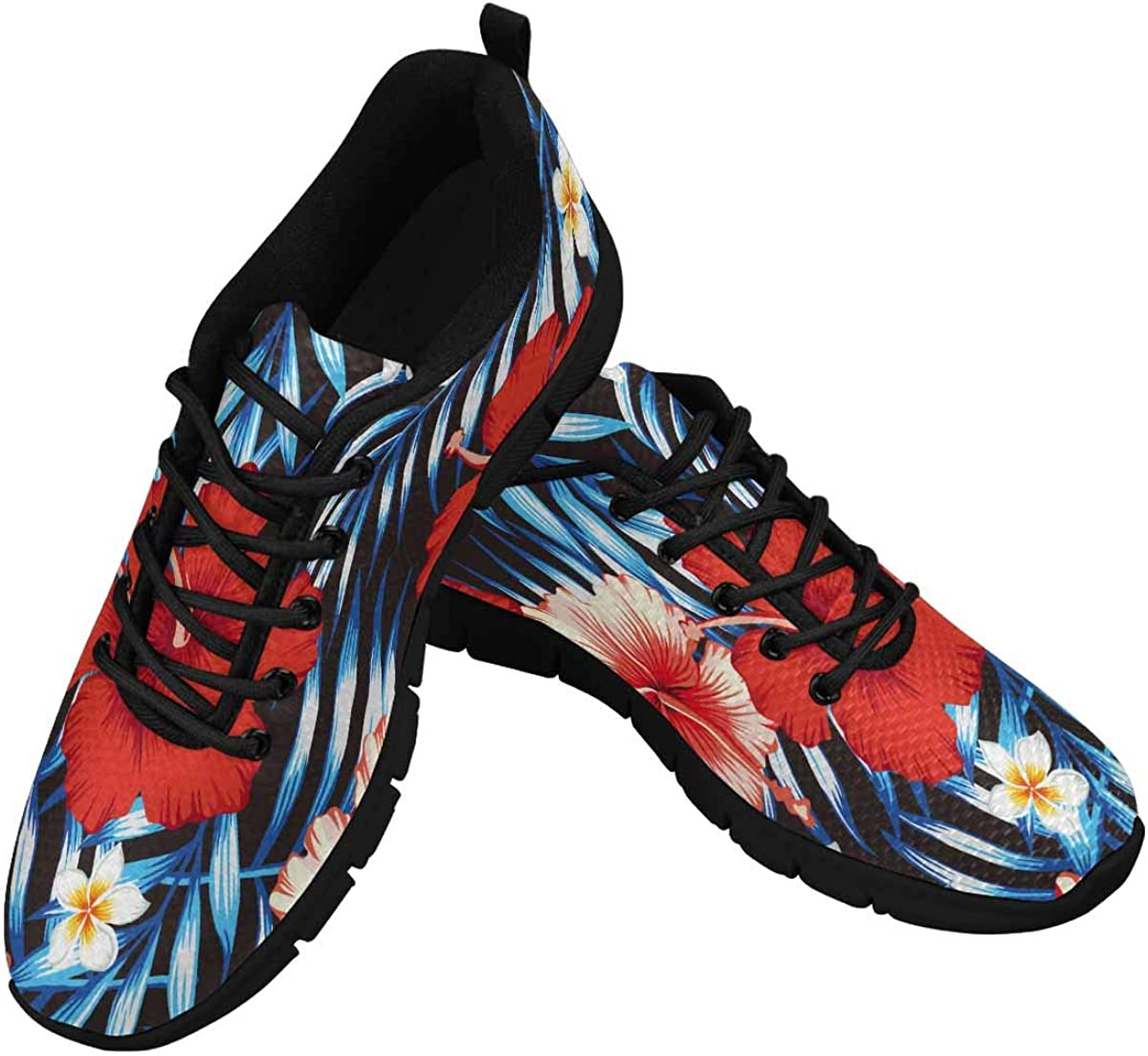InterestPrint Red and Pink Hibiscus Flower Women's Breathable Non Slip Sneakers