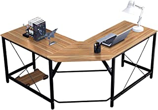 SogesPower 59×59 inches Large L-Shaped Desk Corner Computer Gaming Desk Office Desk PC Laptop Table for Home Office, Oak