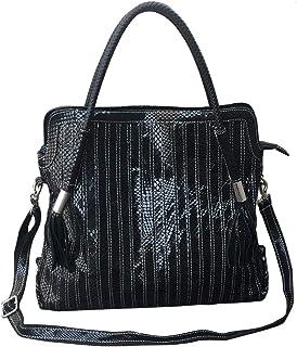 Damen-Handtasche, Boston-Design, echtes Leder, bunt, groß