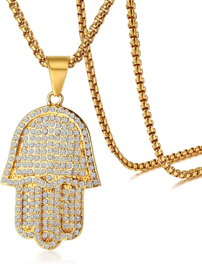 Mealguet Jewelry Gold Plated Stainless Steel Iced Out Crystal Studded Hamsa Hand of Fatima Pendant Necklace for Men with Chain