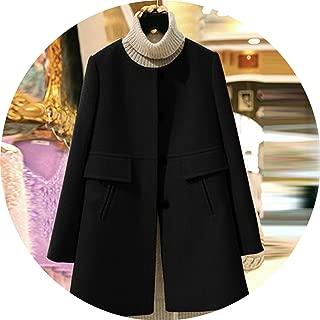 Winter Women Wool Coat Casual Jackets Blend Elegant Long Sleeve Wool Coat Outwear