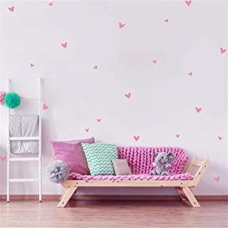126 Pcs Pink Heart Wall Decals Removable Easy Paste Vinyl Pink Wall Stickers Baby Nursery Decor,Girls Room Decor,Living Ro...