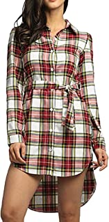 Women's Loose Long Sleeve Slim Fit Plaid Shirts Button Down Belted Shirt Dress