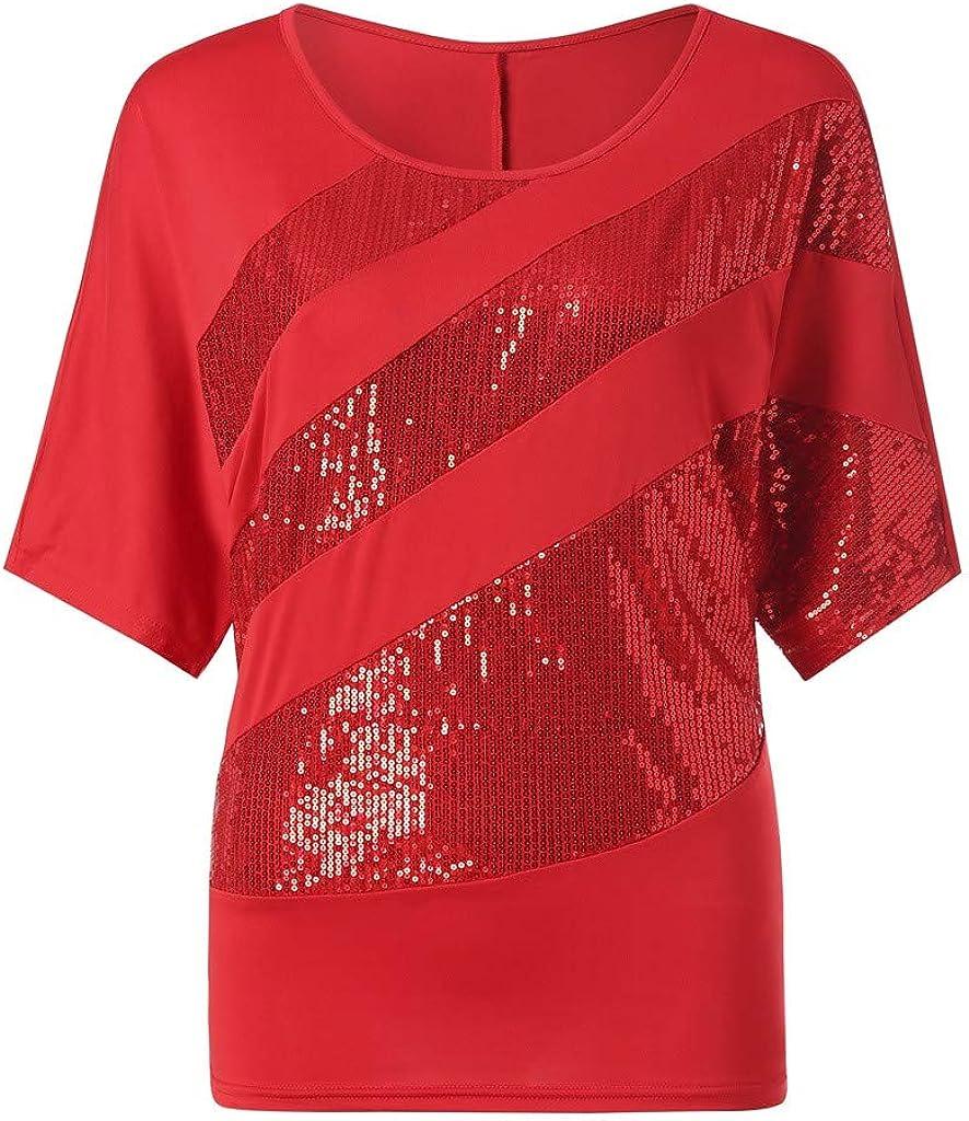 Vintage Cherry Red Glitter Metallic Sparkle Short Sleeve Bubble Blouse L