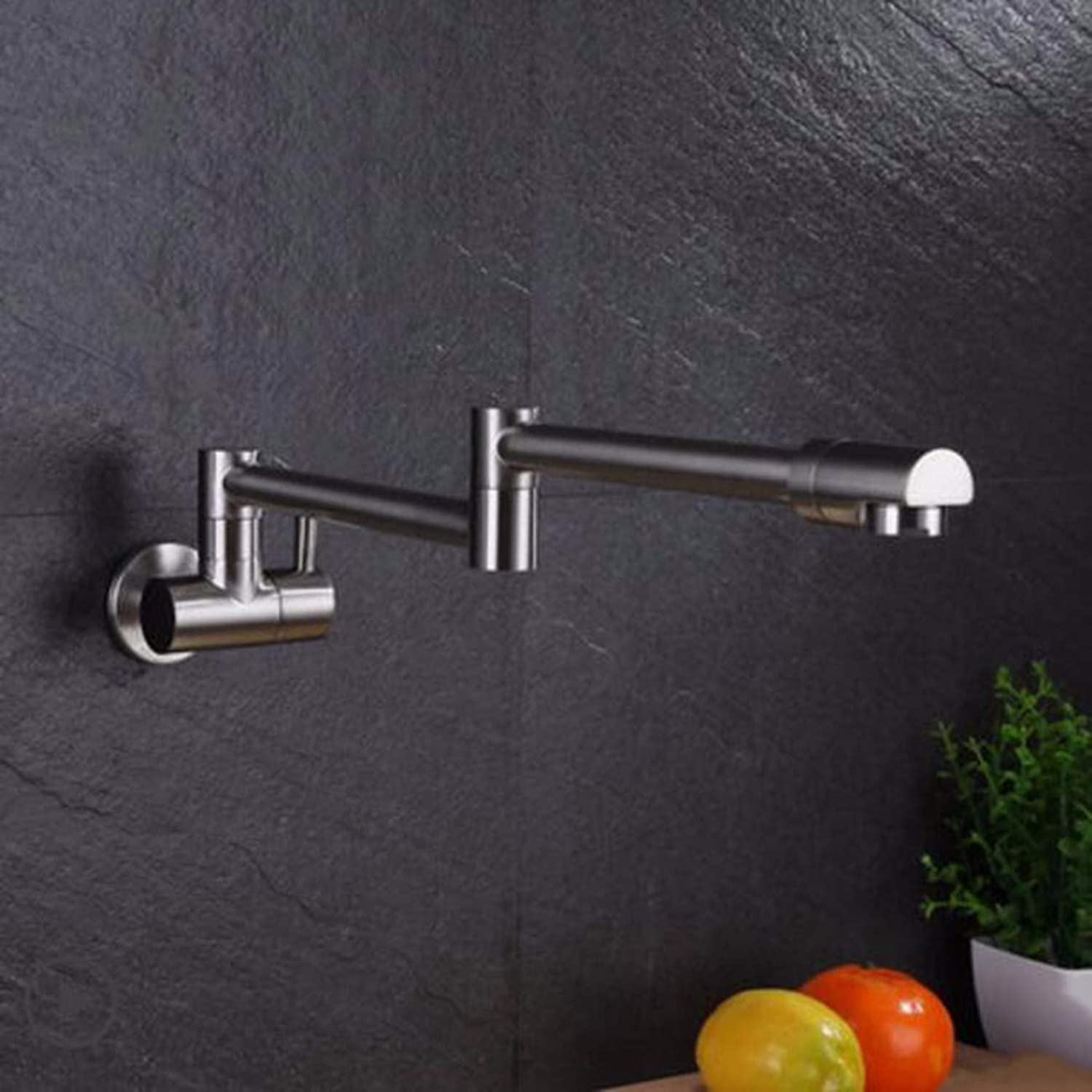 Faucet All copper black into wall folding single cold kitchen faucet washing basin balcony telescopic redary faucet,B