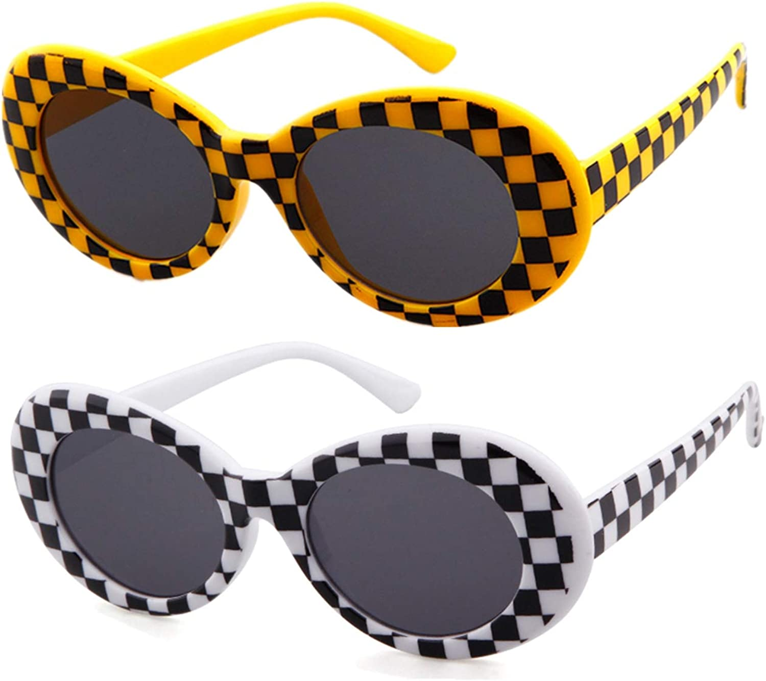 ADEWU Clout Goggles, Lunettes de Soleil Ovales 2 Pcs - Yellow & Black Checkered