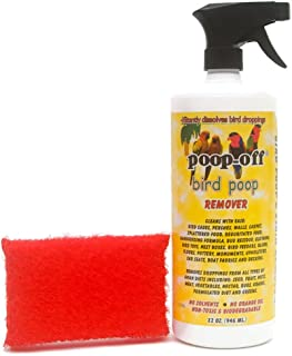 Poop-Off Bird Poop Remover Sprayer 32-Ounce with Prevue Hendryx Cage Saver Scrub Pad Assorted Colors