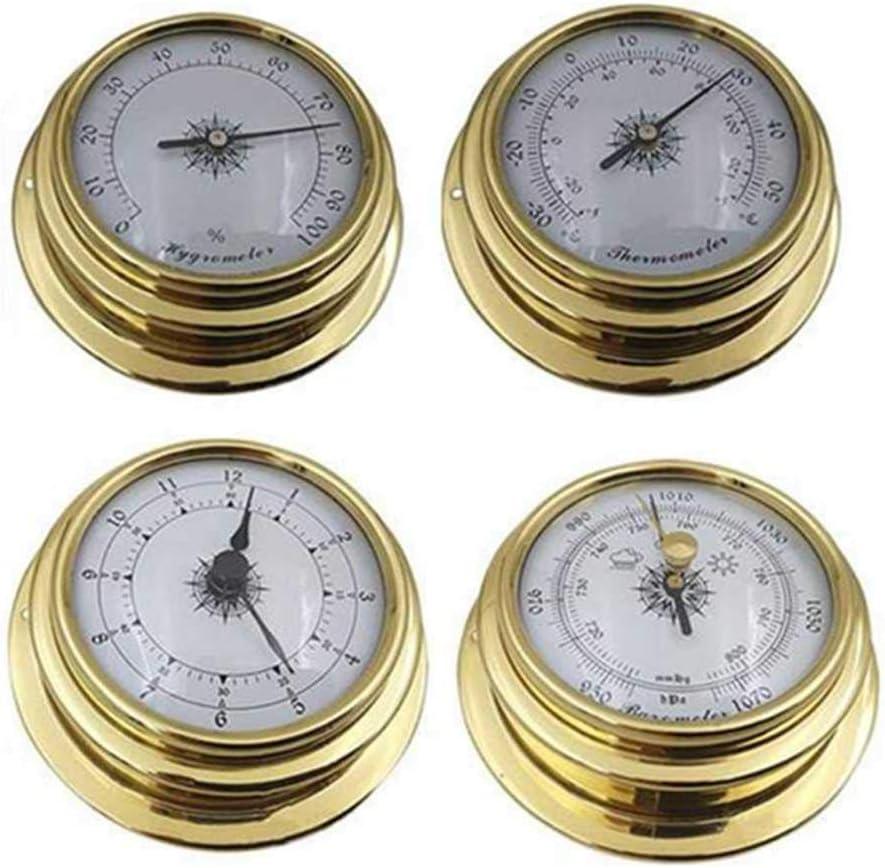 KenKER Conjunto de estación meteorológica Kit de Barco Termómetro Higrómetro Barómetro Reloj Medidor