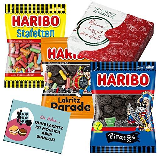 Haribo Lakritze Süßigkeiten Box - Lakritz Geschenk für Freund - Mitbringsel ( (Salzlakritz Mix, 3er Pack)