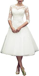 Long Sleeves Lace Short Tea Length Wedding Dress Gown