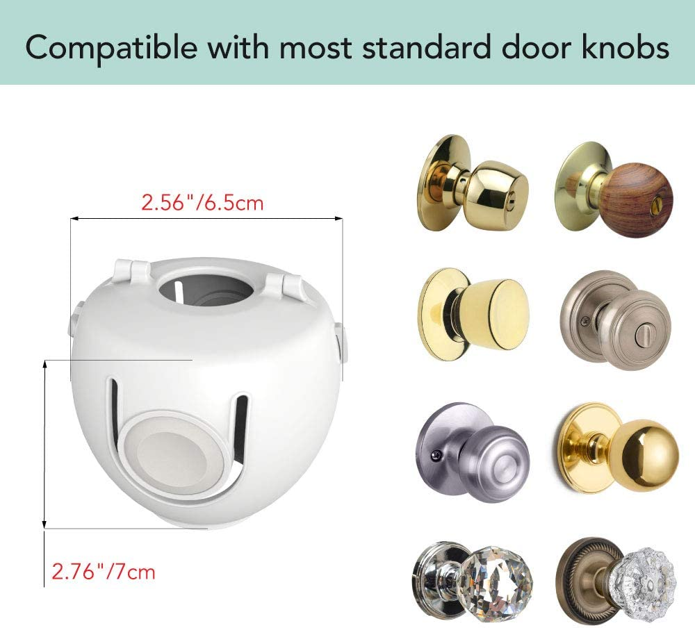 Heart of Tafiti Door Knob Child Proof Cover, Child Safety Locks for Doors, Kid-Proof 4 Pack/White (Also Safe for Toddlers and People Suffering from Dementia)