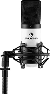 auna MIC-900WH - USB-condensatormicrofoon, cardioïde karakteristiek, frequentiebereik: 30 Hz - 18 kHz, 16 mm, incl. microf...