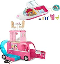 Bundle Includes 2 Items - Barbie Pop-Up Camper Vehicle and Barbie Dolphin Magic Ocean View Boat Playset