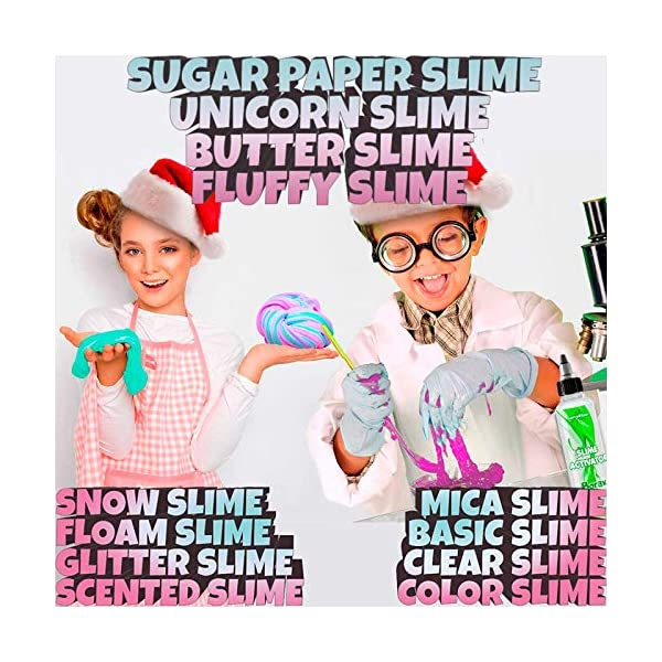 Slime Kit for Girls - All-Inclusive UNICORN Slime Making Kit - PLUS Slime Supplies Kit [57 Pieces Set] - DIY Slime Kit Makes Unicorn Slime, Cloud, Fluffy, Clear, Floam - Clear Glue Slime Activator 5