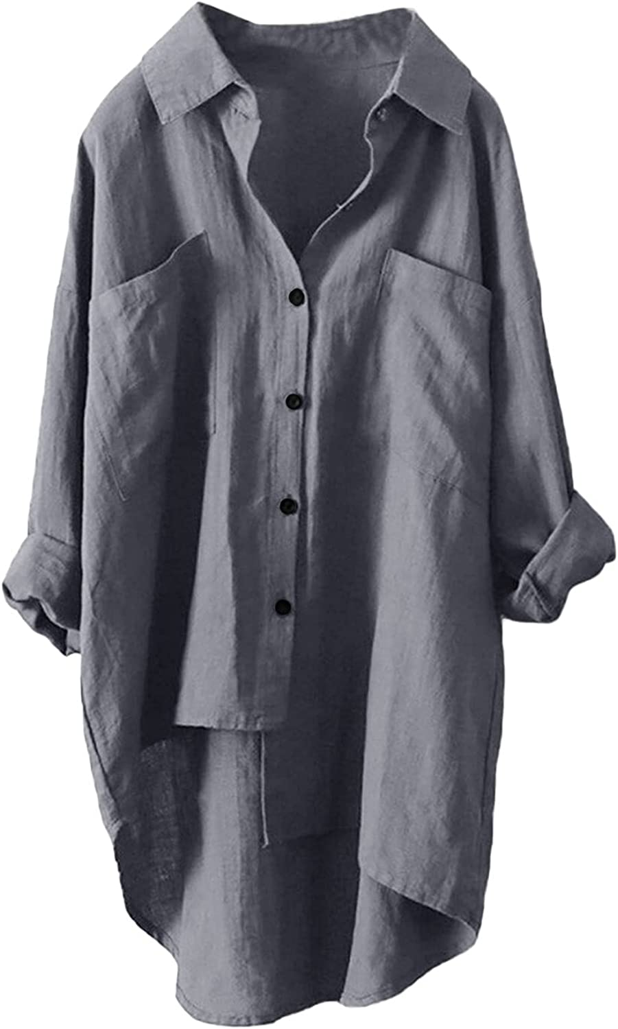 Leirke Womens Casual Shirts Plus Size Baggy High Low Blouse Mid-Long Shirts Oversized V Neck Work Plain Tops with Pockets