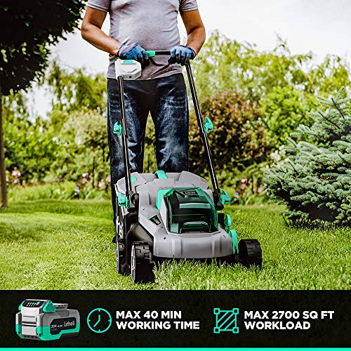 Litheli 20V Cordless 13-Inch Brushless Lawn Mower, with 4Ah Battery and Charger, Cordless Electric Lawn Mower for Garden, Yard and Farm