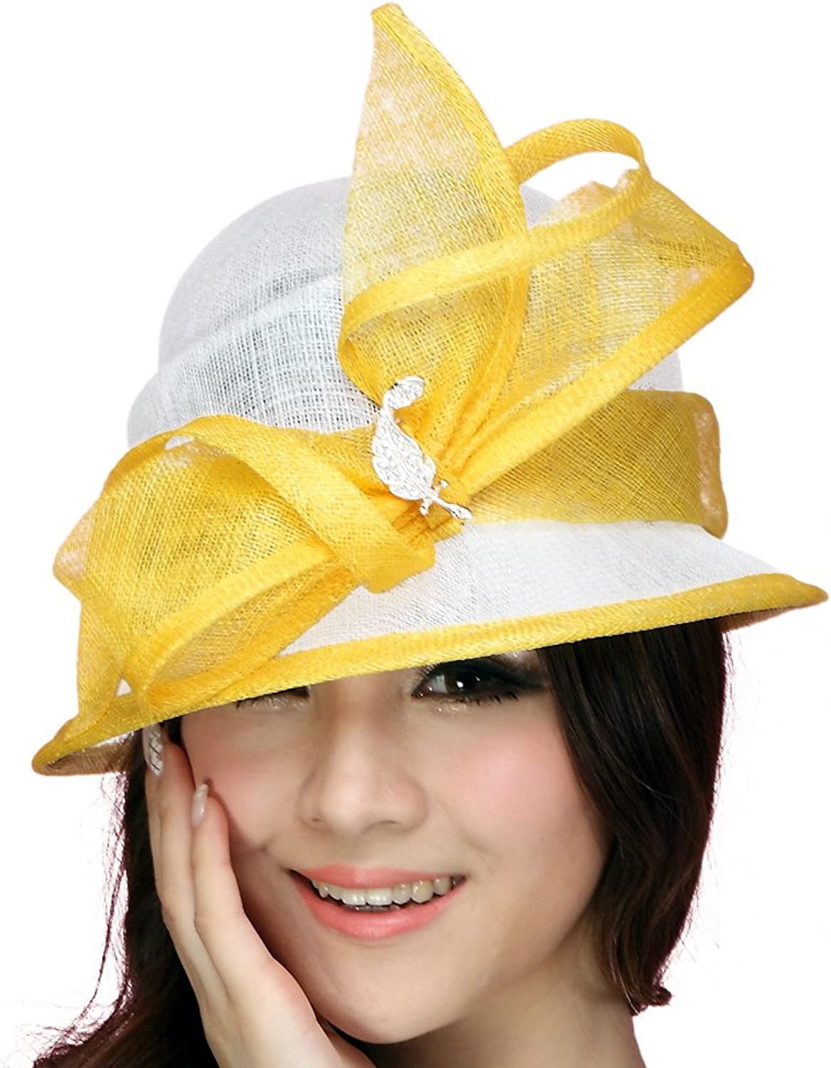 June's Young Ladies Hats Sinamay Sun Hat Summer Bow Top Hat