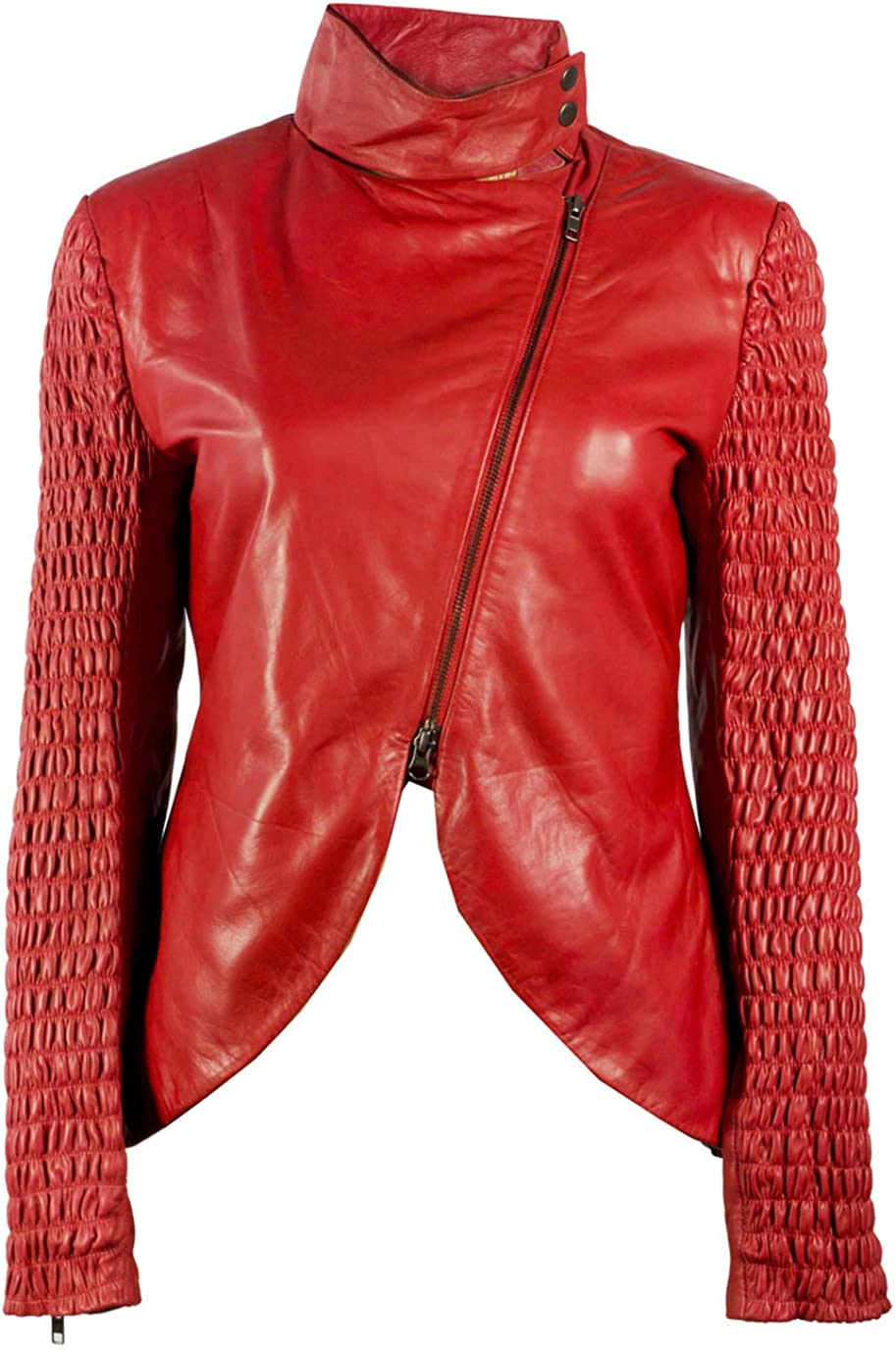 The UZ Global Western Chic Dark Red Ruched Panel Womens Faux Leather Jacket - Synthetic Leather Jacket