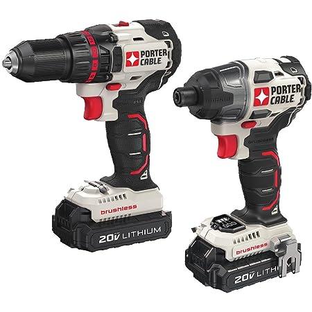 PORTER-CABLE 20V MAX Cordless Drill Combo Kit, Brushless, 2-Tool (PCCK618L2)