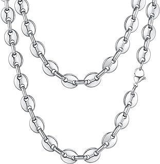 Fin Collier Cha/îne Grain de Caf/é Homme ou Femme Acier Argent Or 6x8mm 60cm 30gr BOBIJOO Jewelry
