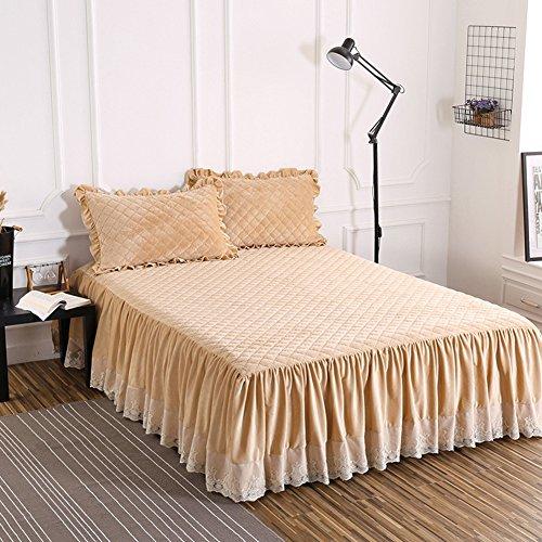 Bettvolant, Samt und Baumwolle, gesteppt, warm, dick, camel, 180x200cm(71x79inch)