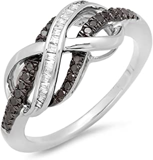 (7.5) - 0.25 Carat (ctw) Sterling Silver Black & White Diamond Ladies Swirl Infinity Wedding Ring 1/4 CT