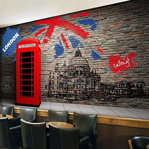 GWYQRIQH Pas elke grootte retro imitatie bakstenen muur schilderij behang muur 3D restaurant koffie woonkamer behang muurschildering 380cm x 240cm