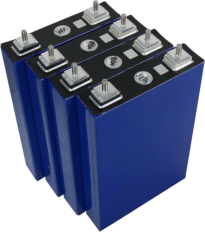 LONGRING 4PCS 3.2V 100Ah LiFePO4 Litio Fosfato de Hierro Baterías Recargables de Ciclo Profundo de 12V Celdas, con BMS Boca Dividida, balanceadas, Batería de Coche,4 pcs 12v 100ah