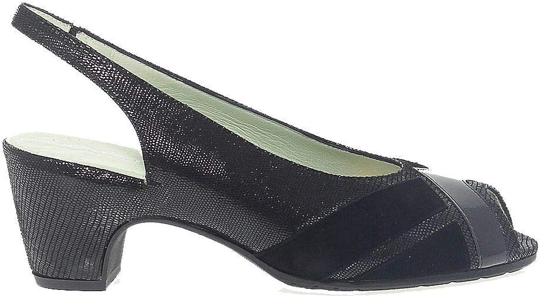 MARTINA Women's MART1303 Black Leather Sandals