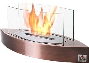 HOMCOM Portable Tabletop Ventless Bio Ethanol Fireplace Glass - Bronze