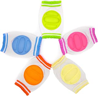 Baby Knee Pads, 5 Pairs Elastic Anti-Slip Breathable Protector for Crawling