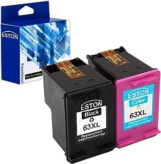 ESTON #63 XL Black/Color Ink for Deskjet 1110 1112 2130 3630 3632 (1 Black + 1 Tri-Color)