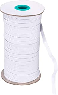 Tolhoom Braided Elastic Band for Sewing 1/4 inch (White, 100Y-6)