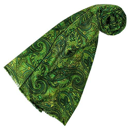 Lorenzo Cana - Luxus Designer Schal Schaltuch aus Baumwolle mit Seide aufwändig bedrucktes Paisleymuster Schaltuch 70 cm x 190 cm, Grün